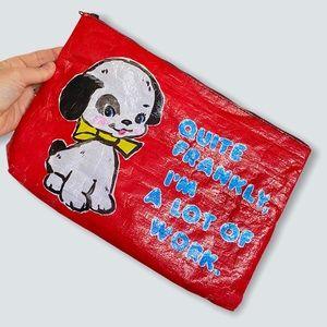 Blue Q Tyvek Puppy Pouch Zipper Plastic Purse